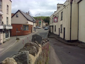 Banwell's centre: the narrow streets of the village seen in 2012