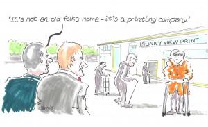 HARRY MOTTRAM FREELANCE: recent cartoon for Print Monthly magazine