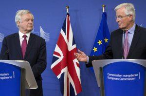David Davis, Britain's Brexit minister alongside the EU's man Michel Barnier during talks
