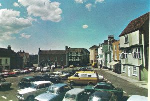 STRAWBERRY LINE TIMES – FEATURE: Axbridge Square pictured in the 1970s before all the changes took place and an earlier photo of the Oakhouse Hotel (where you could buy petrol back in the day)